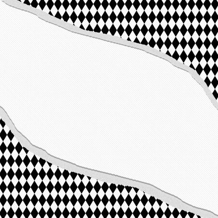 diamante negro: Fondo rasgado blanco y negro del diamante con el centro para la copia-espacio, Marco Diamond Classic Torn