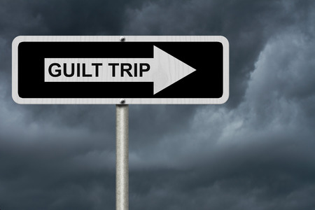 guilt: Guilt Trip this way, Black and white street sign with words Guilt Trip with stormy sky background