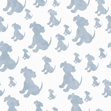 repeats: Blue and White Puppy Dog Tile Pattern Repeat Background that is seamless and repeats