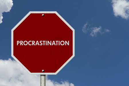 procrastination: Stop Procrastination Road Sign, Stop sign with words stop Procrastination with sky background