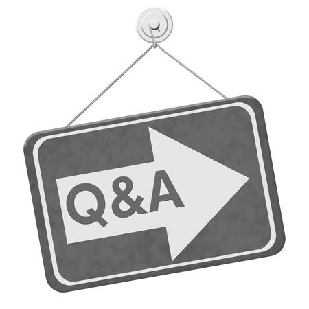 control de calidad: Q & A Esta muestra de la manera, un cartel de color gris con la palabra Q & A con una flecha aislado en un fondo blanco