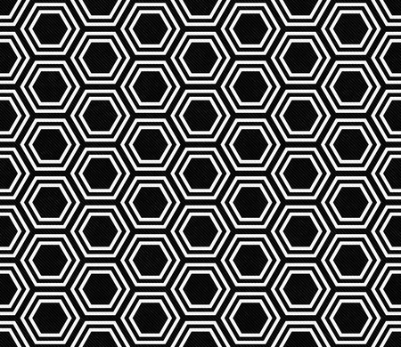 repeats: Black and White Hexagon Tile Pattern Repeat Background that is seamless and repeats