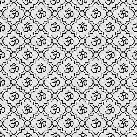 Black and White Aum Hindu Symbol Tile Pattern Repeat Background that is seamless and repeats Stock Photo