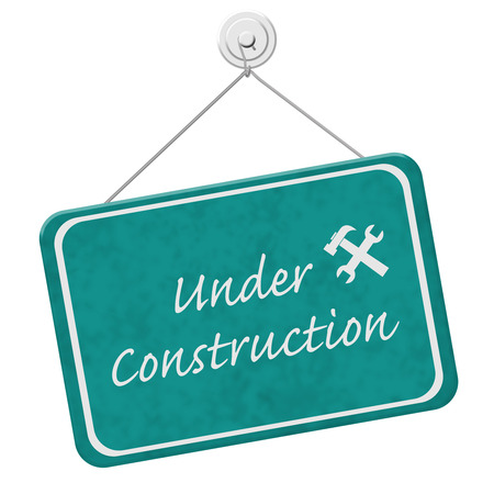 overwhite: Under Construction Sign,  A teal sign with the words Under Construction with hammer and wrench isolated on a white background