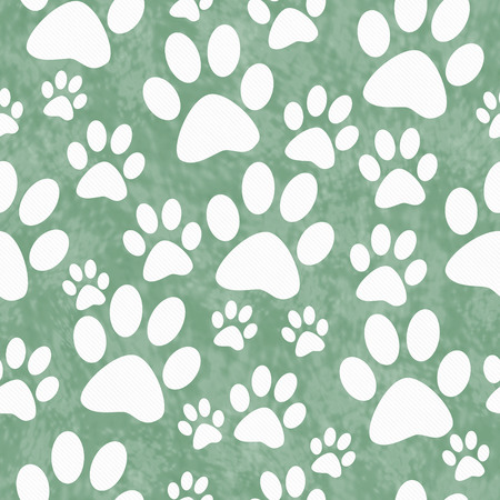 Green and White Dog Paw Prints Tile Pattern Repeat Background that is seamless and repeats