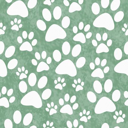impresión: Verde y blanca de la pata del perro del modelo del azulejo de repetición de fondo que se repite sin fisuras y