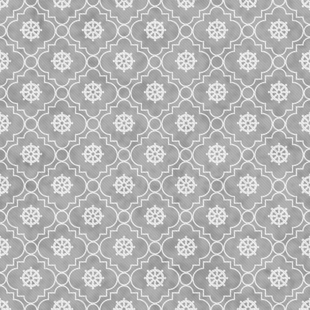 dharma: Gray and White Wheel of Dharma Symbol Tile Pattern Repeat Background that is seamless and repeats Stock Photo