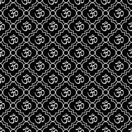aum: Black and White Aum Hindu Symbol Tile Pattern Repeat Background that is seamless and repeats Stock Photo
