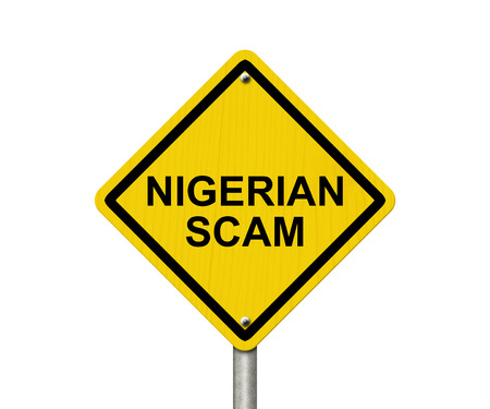 overwhite: Nigerian Scam Warning Sign, Yellow warning road sign with word Nigerian Scam isolated on white