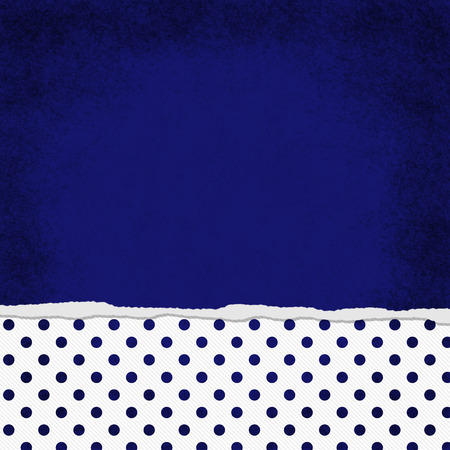 navy blue background: Square Blue and White Polka Dot Torn Grunge Textured Background with copy space at top Stock Photo