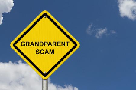 grandparent: Grandparent Scam Warning Sign, Yellow warning road sign with word Grandparent Scam with sky background
