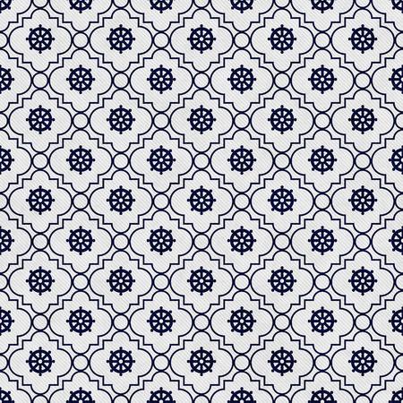 azul marino: Azul marino y blanco Rueda de Dharma Symbol Teja modelo de la repetici�n de fondo que es transparente y se repite Foto de archivo