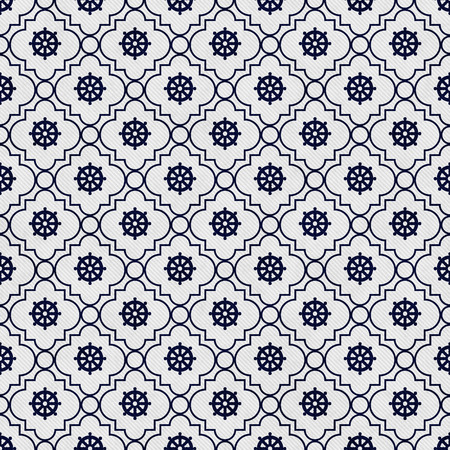 navy blue background: Navy Blue and White Wheel of Dharma Symbol Tile Pattern Repeat Background that is seamless and repeats