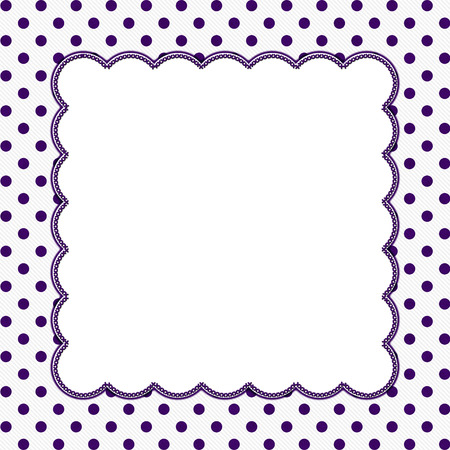 stitches: Purple and White Polka Dot Frame with Embroidery Stitches Background with center for your message
