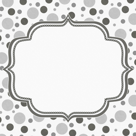 grey pattern: Gray and White Polka Dot Frame with Embroidery Stitches Background with center for your message Stock Photo