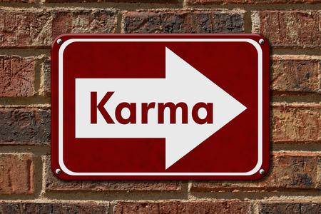 karma: Karma Sign,  A red sign with the words Karma on a brick wall