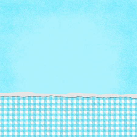 Square Teal and White Gingham Torn Grunge Textured Background with copy space at top Stock Photo