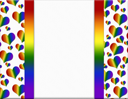 bisexuality: LGBT Pride Colored Hearts Frame with Ribbon Background with center for your message
