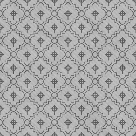 croce celtica: Grigio Croce celtica simbolo del reticolo delle mattonelle di ripetizione di sfondo che � perfetta e si ripete