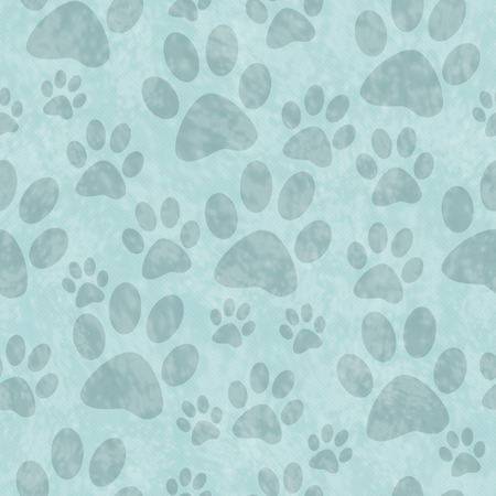 abstract wallpaper: Blue Dog Paw Prints Tile Pattern Repeat Background that is seamless and repeats