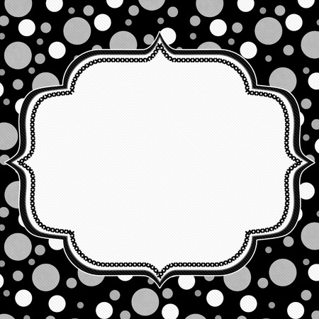 polka: Gray, White and Black Polka Dot Frame with Embroidery Stitches Background with center for your message Stock Photo