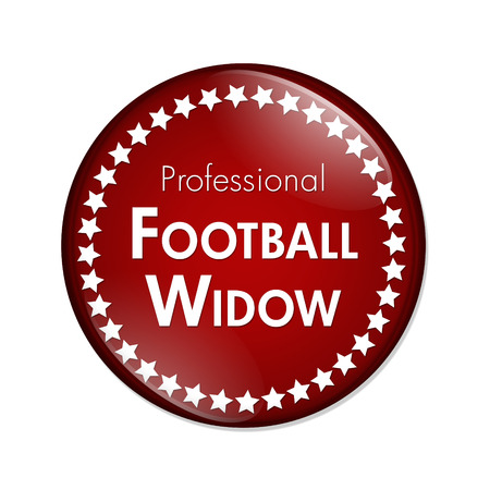 overwhite: Professional Football Widow Button, A Red and White button with words Professional Football Widow and Stars isolated on a white background Stock Photo