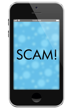 overwhite: Scam Alert, Mobile Phone with words Scam in Text isolated on a white background