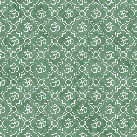sanskrit: Green and White Aum Hindu Symbol Tile Pattern Repeat Background that is seamless and repeats Stock Photo