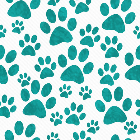 animal pattern: Teal and White Dog Paw Prints Tile Pattern Repeat Background that is seamless and repeats