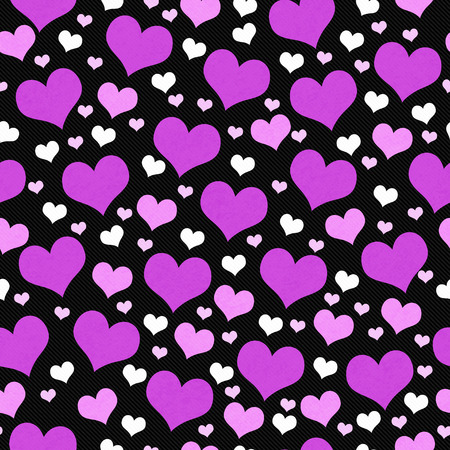 heart background: Purple, White and Black Hearts Tile Pattern Repeat Background that is seamless and repeats