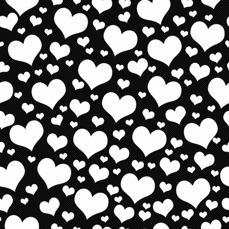 white heart: Black and White Hearts Tile Pattern Repeat Background that is seamless and repeats