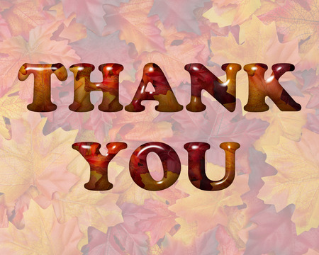 caes: Words Thank You in 3D letters made of Orange and Red Fall Leaves Foto de archivo