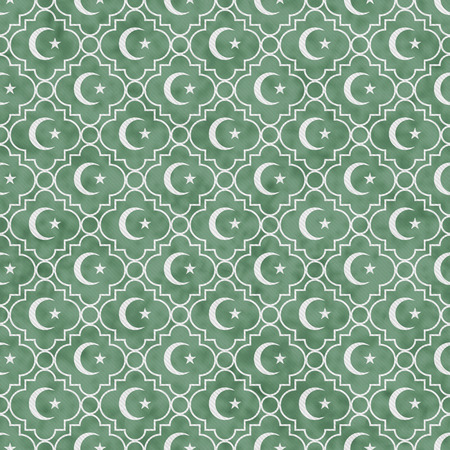 pale green: Pale Green and White Star and Crescent Symbol Tile Pattern Repeat Background that is seamless and repeats
