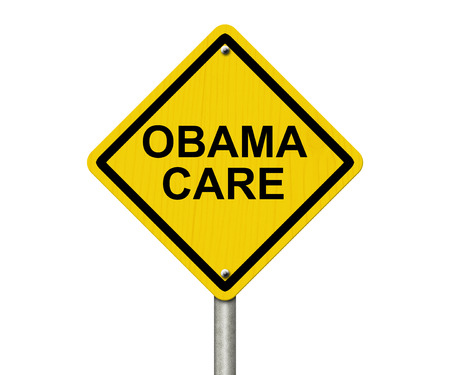 obama care: ObamaCare Warning Sign, Yellow warning road sign with word ObamaCare isolated on white Stock Photo