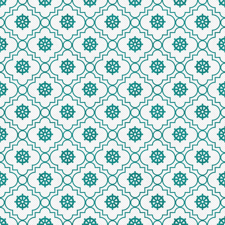 tile pattern: Teal and White Wheel of Dharma Symbol Tile Pattern Repeat Background that is seamless and repeats Stock Photo