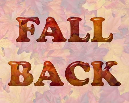 daylight: Fall Back Time Change, Words Fall Back in 3D letters made of Orange and Red Fall Leaves