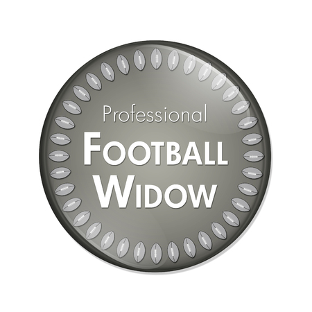 Professional Football Widow Button, A Blue and White button with words Professional Football Widow and Footballs isolated on a white background
