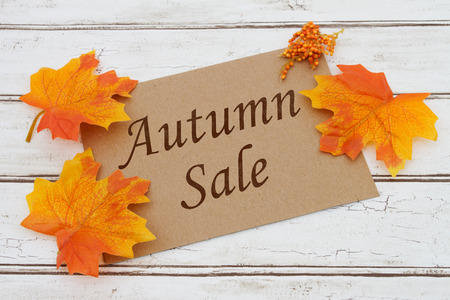 Autumn Sale Card, A brown card with words Autumn Sale  over a distressed wood background with Autumn Leaves Stock Photo