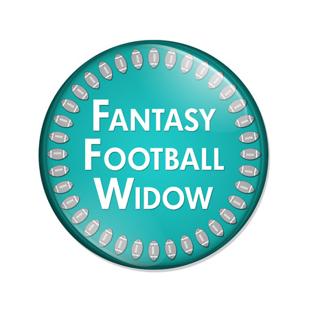noone: Fantasy Football Widow Button, A Teal and White button with words Fantasy Football Widow and Footballs isolated on a white background Stock Photo