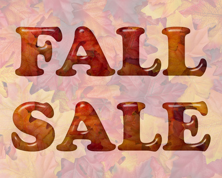 Fall Sale, Word Sale in 3D letters made of Orange and Red Fall Leaves Stock Photo