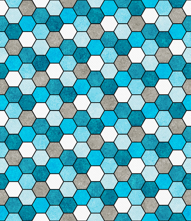 gray: Blue, White and Gray Hexagon Mosaic Abstract Geometric Design Tile Pattern Repeat Background that is seamless and repeats