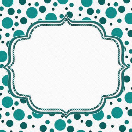blue border: Teal and White Polka Dot Frame with Embroidery Stitches Background with center for your message Stock Photo