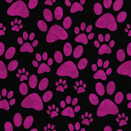 animal print: Rosa y Negro La pata del perro imprime modelo del azulejo del fondo de la repetición que es perfecta y repeticiones