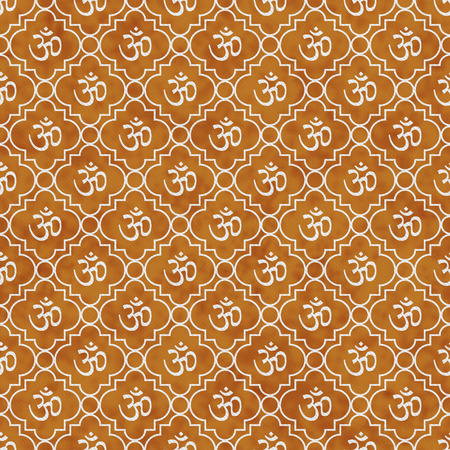 aum: Orange and White Aum Hindu Symbol Tile Pattern Repeat Background that is seamless and repeats