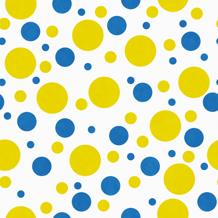 repeats: Yellow, Blue and White  Polka Dot Tile Pattern Repeat Background that is seamless and repeats Stock Photo