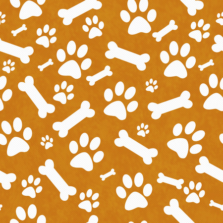 Orange and White Dog Paw Prints and Bones Tile Pattern Repeat Background that is seamless and repeats
