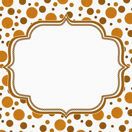 empty frame: Orange and White Polka Dot Frame with Embroidery Stitches Background with center for your message Stock Photo