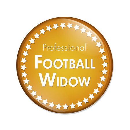 Professional Football Widow Button, A Orange and White button with words Professional Football Widow and Stars isolated on a white background Stock Photo