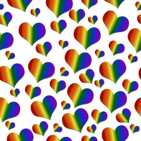 bisexuality: LGBT Pride Colored Hearts over White Tile Pattern Repeat Background that is seamless and repeats