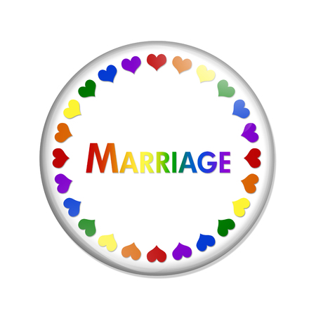 overwhite: Same-sex Marriage Button, A white button with word Marriage and LGBT pride colored hearts and  isolated on a white background